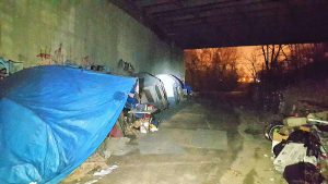 Homeless hidden under a bridge in Columbus.